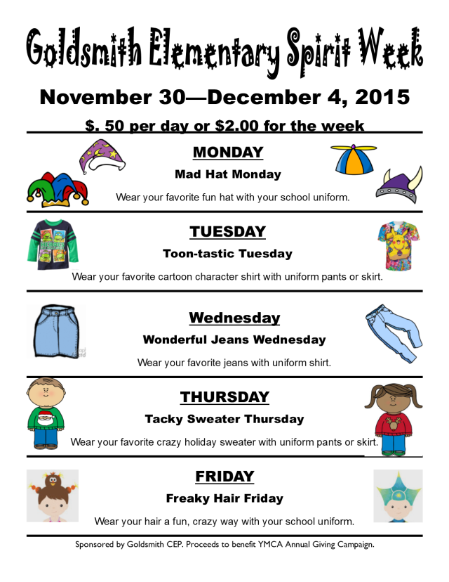 Goldsmith Spirit Week Flier