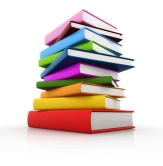 Stack of colorful books (cut-out, white background)